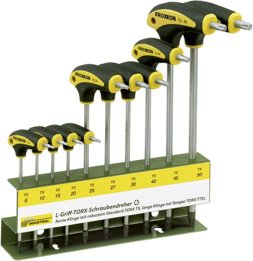 Proxxon Industrial TORX® BO L-hantag Werkplaats Schroevendraaierset 10-delig Torx, Torx BO