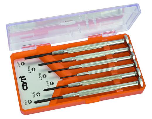 AVIT AV05010 Elektronisch en fijnmechanisch Schroevendraaierset 6-delig Plat, Kruiskop Phillips