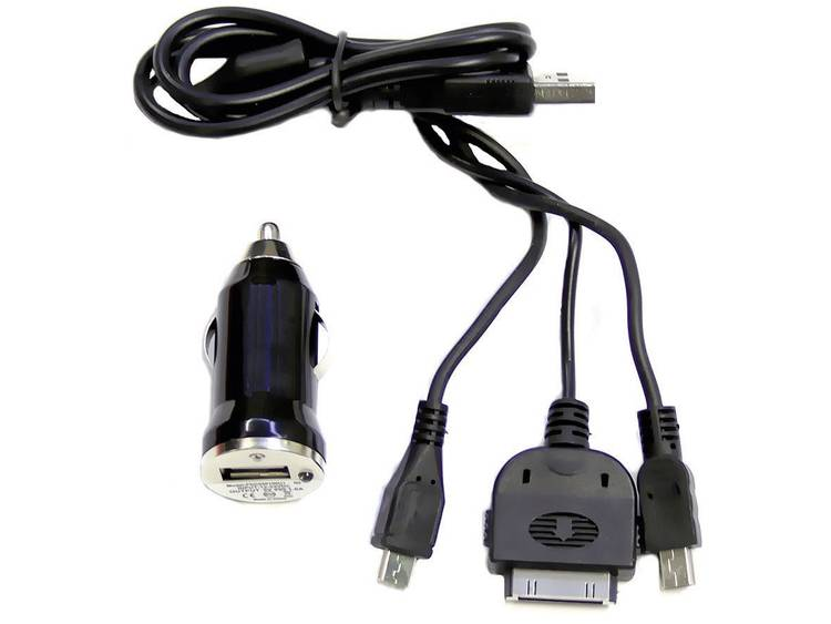 794295 Compleet laadsysteem 3 in 1 Stroombelasting (max.)=1 A Geschikt voor Sigarettenaansteker, Micro USB, Mini USB, iPhone, USB A