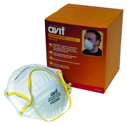 AVIT Ademhalingsmasker EN 149:2001 AV13032 Filterklasse/beschermingsgraad: FFP1 20 stuks