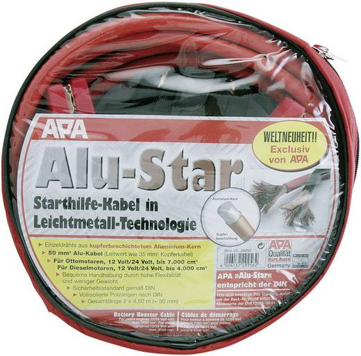 APA 29256 Startkabels 54.69 mm² Aluminium (kopergecoat) 4.50 m met kunststof klemmen Aluminium (kopergecoat)