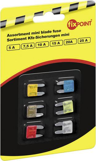 FixPoint Mini steekzekering set 5, 7,5, 10, 15, 20, 25 A 6 delig
