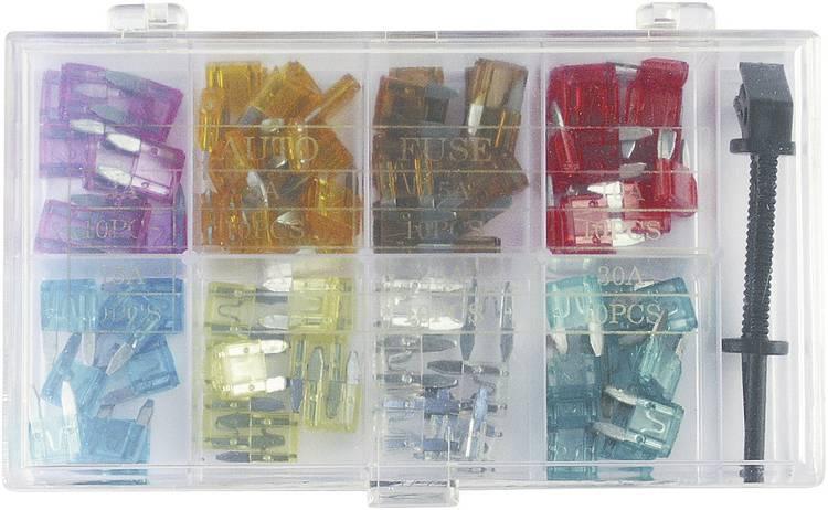 Image of Platte minizekering 3 A, 5 A, 7.5 A, 10 A, 15 A, 20 A, 25 A, 30 A Lila, Lichtbruin, Bruin, Rood, Geel, Helder, Groen FixPoint 20357 100 stuks