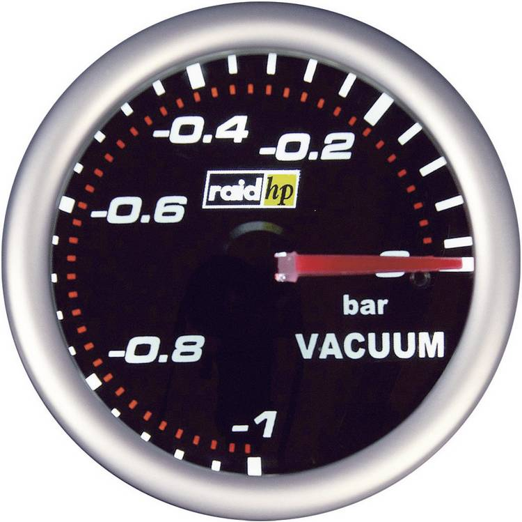 raid hp 660240 Inbouwmeter (auto) Vacuummeter Meetbereik -1 - 0 bar NightFlight Wit. Rood 52 mm
