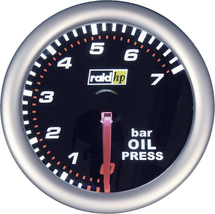raid hp 660241 Inbouwmeter (auto) Oliedrukweergave Meetbereik 7 - 0 bar NightFlight Wit. Rood 52 mm