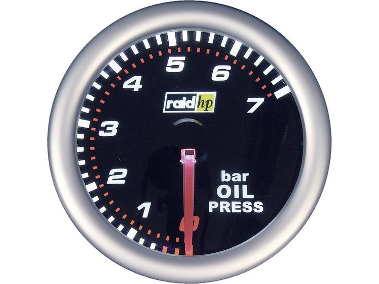 raid hp 660241 Inbouwmeter (auto) Oliedrukweergave Meetbereik 7 - 0 bar NightFlight Wit, Rood 52 mm