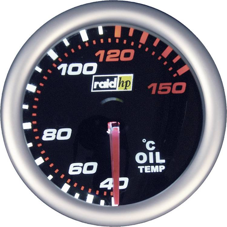 raid hp 660242 Inbouwmeter (auto) Olietemperatuurweergave Meetbereik 40 - 150 C NightFlight Wit. Rood 52 mm
