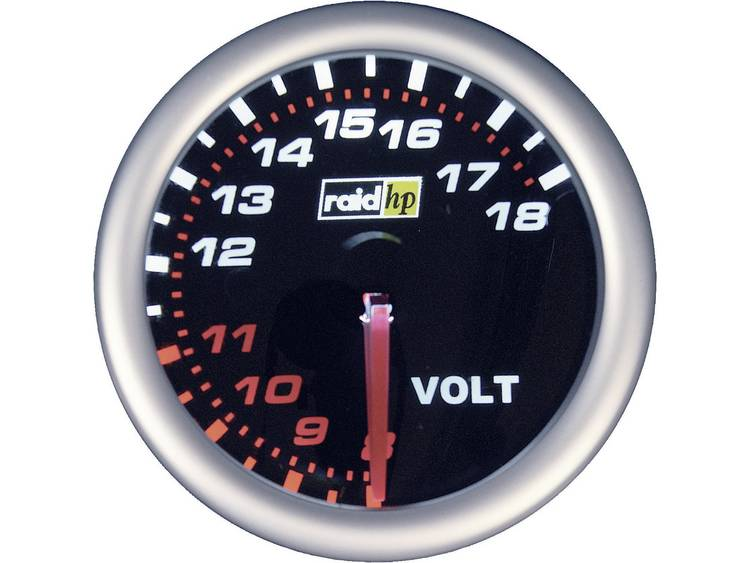 raid hp 660245 Inbouwmeter (auto) Voltmeter Meetbereik 8 - 18 V NightFlight Wit, Rood 52 mm