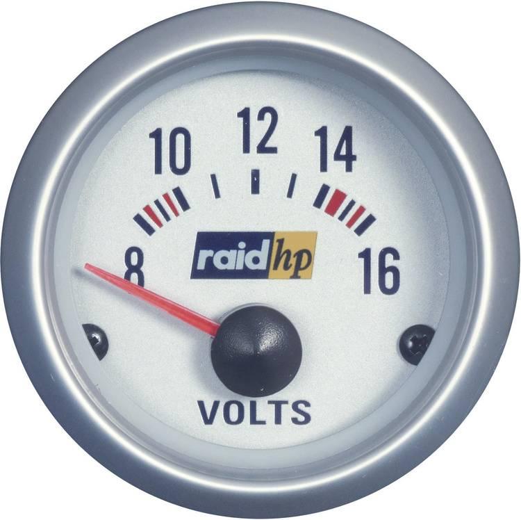 raid hp 660223 Inbouwmeter (auto) Voltmeter Meetbereik 8 - 16 V Silber-Serie Blauw-wit 52 mm