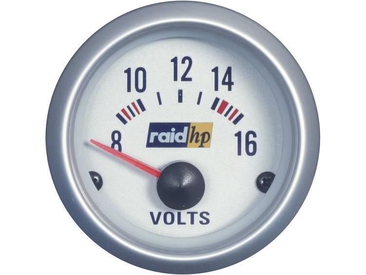 raid hp 660223 Inbouwmeter (auto) Voltmeter Meetbereik 8 16 V Silber Serie Blauw wit 52 mm