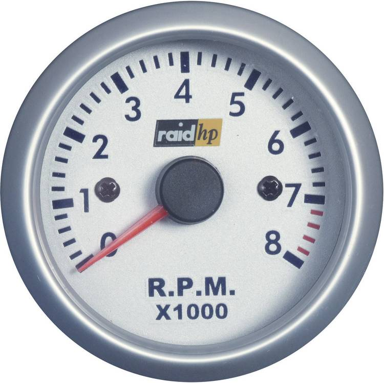 raid hp 660266 Inbouwmeter (auto) Toerentalmeter benzinemotor Meetbereik 0 - 8000 omw min Silber-Serie Blauw. Wit 52 mm