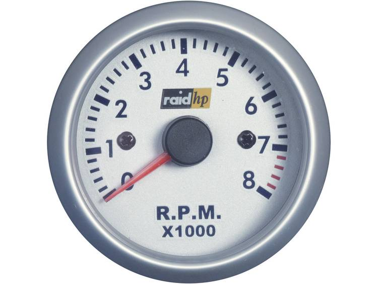 raid hp 660266 Inbouwmeter (auto) Toerentalmeter benzinemotor Meetbereik 0 8000 omw min Silber Serie Blauw, Wit 52 mm