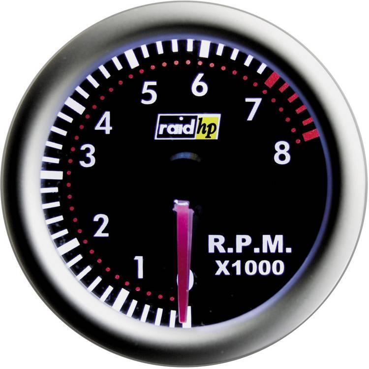 raid hp 660264 Inbouwmeter (auto) Toerentalmeter benzinemotor Meetbereik 0 - 8000 omw min NightFlight Rood. Wit 52 mm