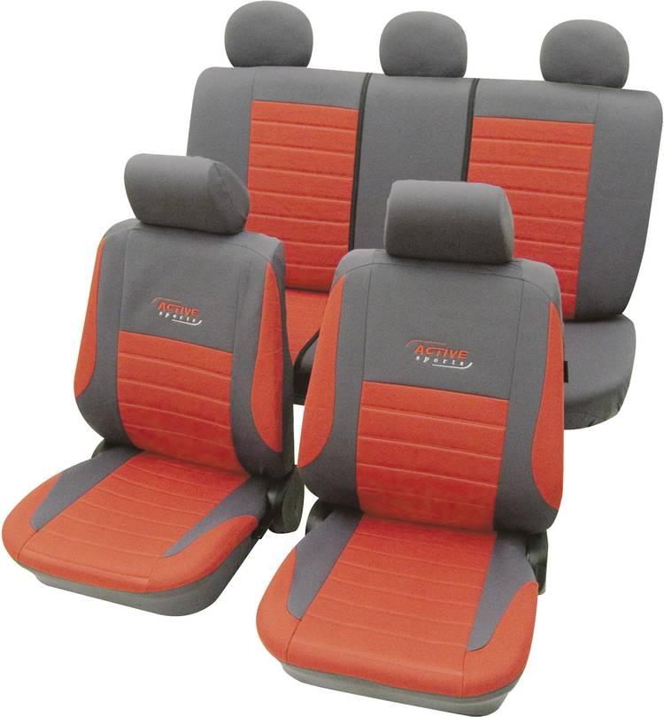 Image of cartrend 60121 Active Autostoelhoes 11-delig Polyester Rood Bestuurder, Passagier, Achterbank