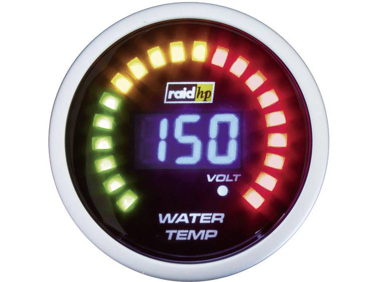 raid hp 660502 Inbouwmeter (auto) Koelwatertemperatuur Meetbereik 40 150 °C NightFlight Digital Blue Blauw, Wit 52 mm