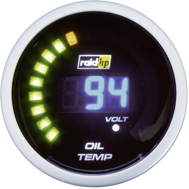 raid hp 660503 Inbouwmeter (auto) Olietemperatuurweergave Meetbereik 40 - 150 C NightFlight Digital Blue Blauw. Wit 52 mm