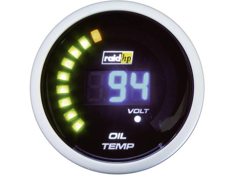 raid hp 660503 Inbouwmeter (auto) Olietemperatuurweergave Meetbereik 40 150 °C NightFlight Digital Blue Blauw, Wit 52 mm