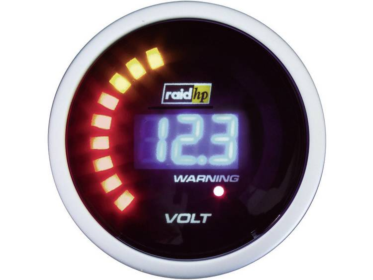 raid hp 660504 Inbouwmeter (auto) Voltmeter Meetbereik 8 18 V NightFlight Digital Blue Blauw, Wit 52 mm