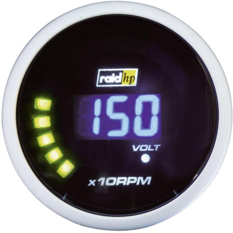 raid hp 660505 Inbouwmeter (auto) Toerentalmeter benzinemotor Meetbereik 0 - 10000 omw min NightFlight Digital Blue Blauw. Wit 52 mm
