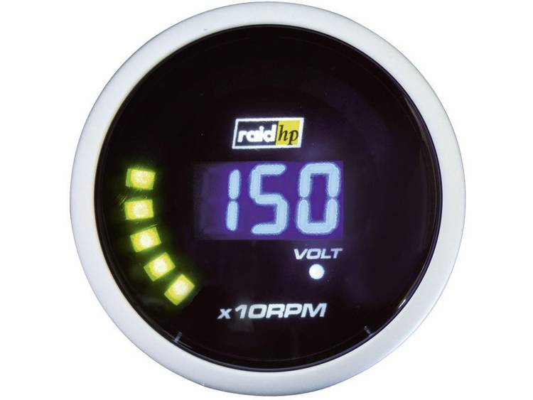 raid hp 660505 Inbouwmeter (auto) Toerentalmeter benzinemotor Meetbereik 0 10000 omw min NightFlight Digital Blue Blauw, Wit 52 mm