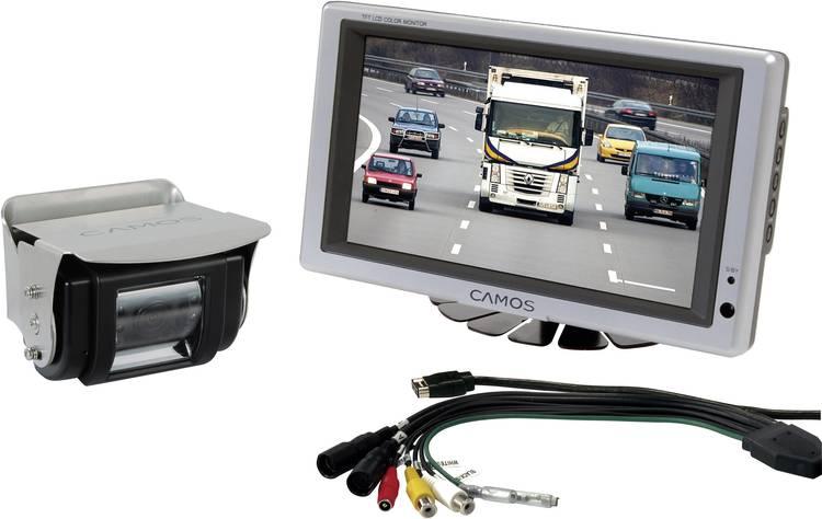 Kabelgebonden achteruitrijcamera systeem Camos RV 754 Extra IR-verlichting. Geïntegreerde microfoon. Geïntegreerde verwarming. 2 camera-ingangen. Zwenkbaar
