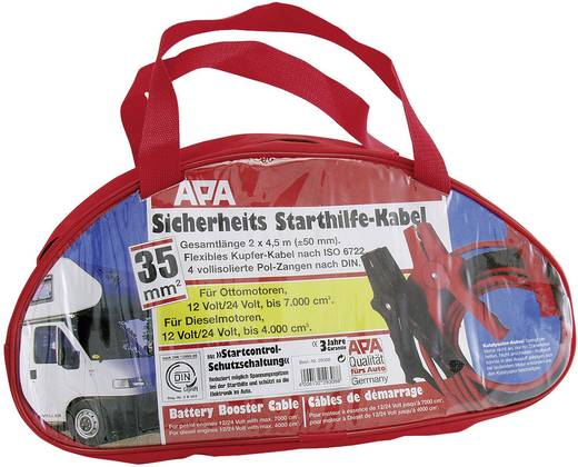 APA Starthilfekabel mit Schutz 35 mm² Startkabels 35 mm² Koper 4.50 m met geïsoleerde accuklemmen Koper