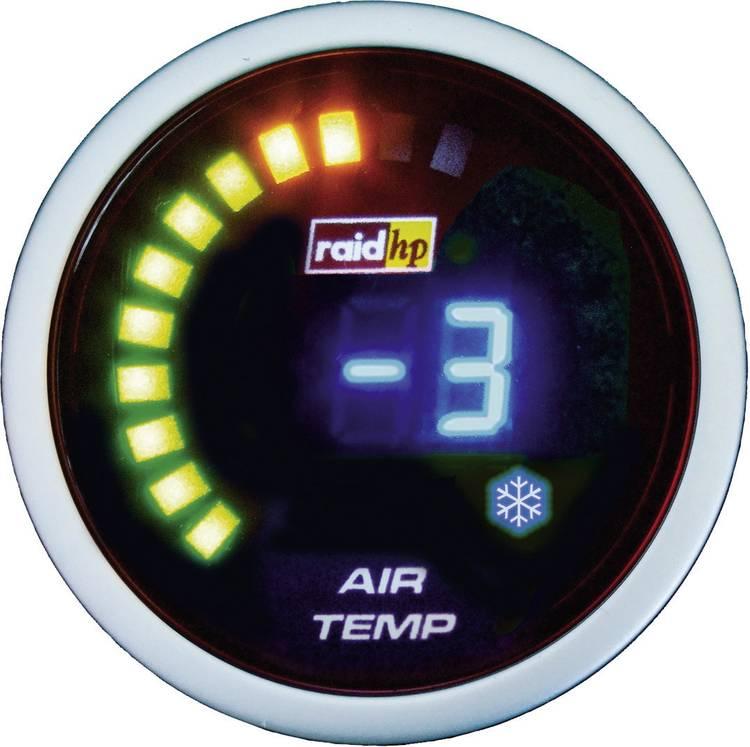 raid hp 660511 Inbouwmeter (auto) Buitentemperatuurweergave Meetbereik -20 - 125 C NightFlight Digital Blue Blauw. Wit 52 mm