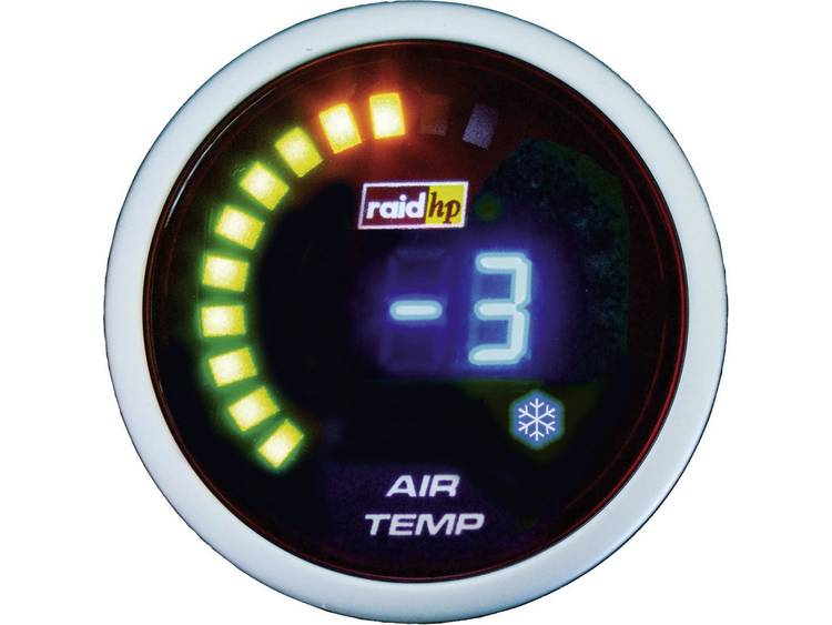 raid hp 660511 Inbouwmeter (auto) Buitentemperatuurweergave Meetbereik 20 125 °C NightFlight Digital Blue Blauw, Wit 52 mm