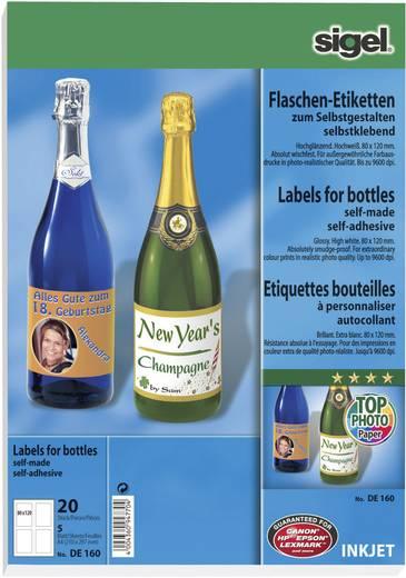Sigel Flaschen-Etiketten zum Selbstgestalten DE160 Inkjet Flesetiketten 80 x 120 mm Permanent 20 stuks