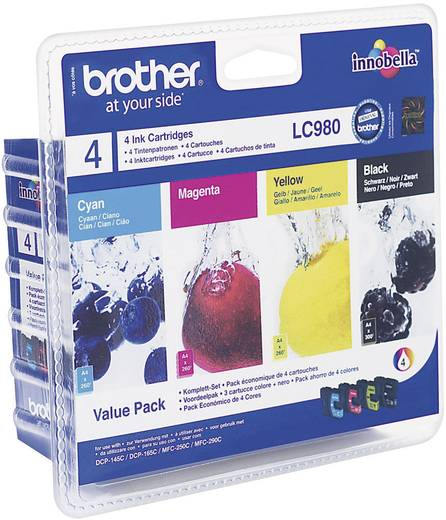 Brother Inkt LC-980 Origineel Combipack Zwart, Cyaan, Magenta, Geel LC980VALBP