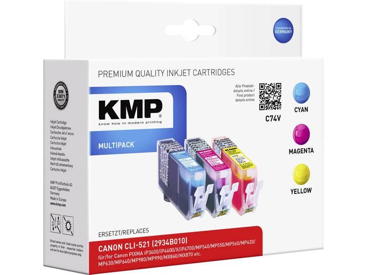 KMP Inkt vervangt Canon CLI 521 Compatibel Combipack Cyaan Magenta Geel C74V 1