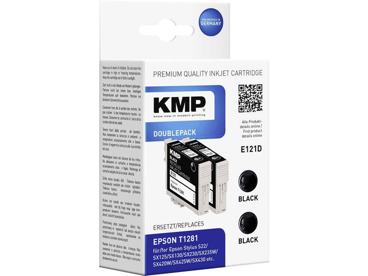 KMP Cartridge set van 2 E121D vervangt Epson T1281 Zwart