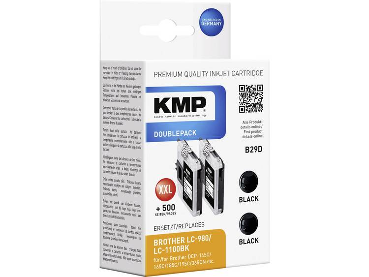 KMP Inkt vervangt Brother LC-980, LC-1100 Compatibel 2-pack Zwart B29D 1521,5222
