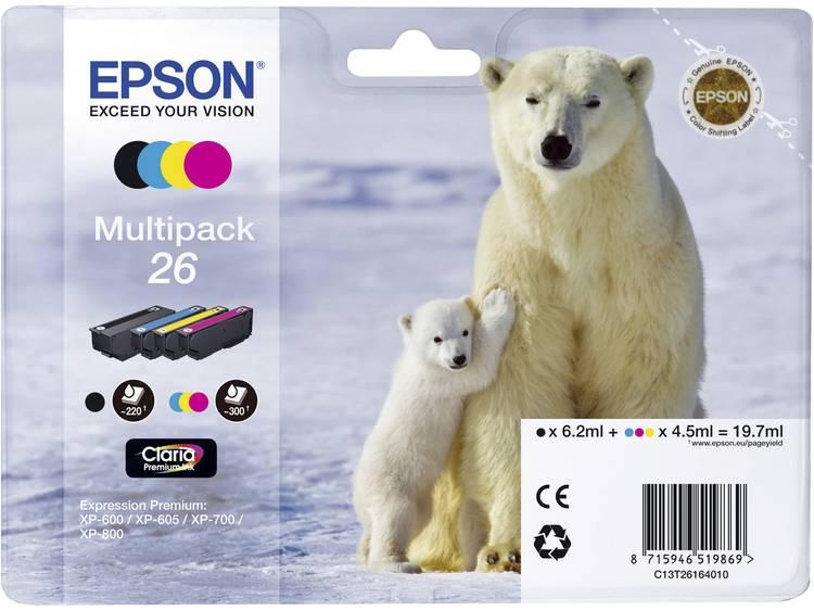 Epson Inkt T2616, 26 Origineel Combipack Zwart, Cyaan, Magenta, Geel C13T26164010