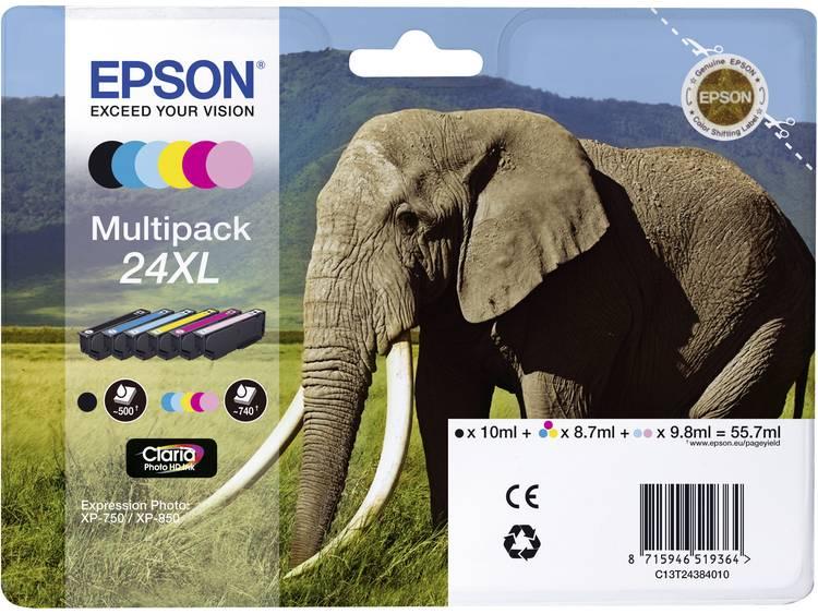 Epson Inkt T2438, 24XL Origineel Combipack Zwart, Cyaan, Magenta, Geel, Lichtcyaan, Lichtmagenta C13T24384011