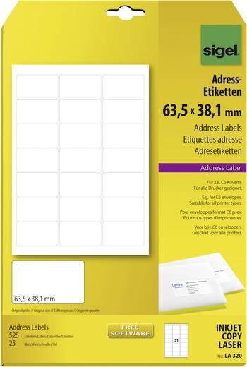 Sigel adresetiketten, LA320 / / 525 stuksN/A, geschikt voor Inkjet, laser, kopie