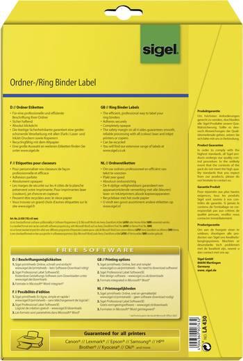 Sigel LA430 Etiketten (A4) 61 x 192 mm Papier Wit 100 stuks Permanent Ordneretiketten Inkt, Laser, Kopie