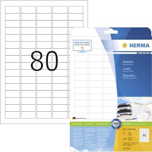Herma 4336, Universele etiketten Premium,, Wit, 2000 stuks