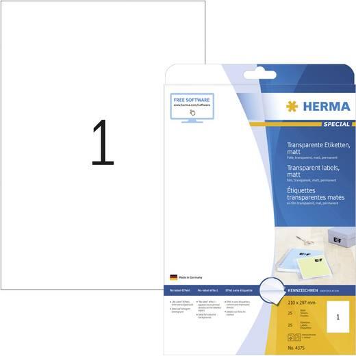 Herma 4375 Etiketten (A4) 210 x 297 mm Polyester folie Transparant 25 stuks Permanent Universele etiketten, Weerbestendige etiketten Laser, Kopie