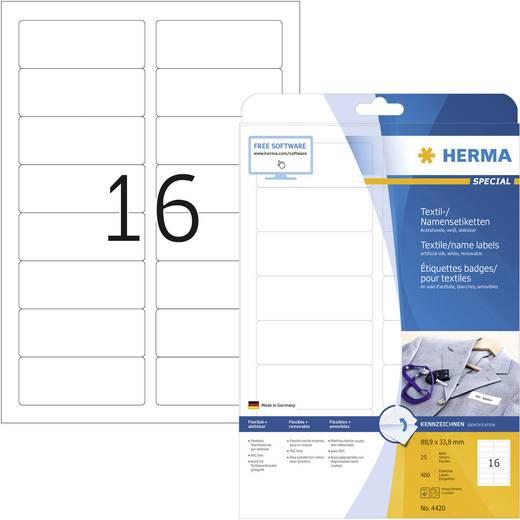 Herma 4420 Etiketten (A4) 88.9 x 33.8 mm Acetaatzijde Wit 400 stuks Weer verwijderbaar Naametiketten, Textieletiketten