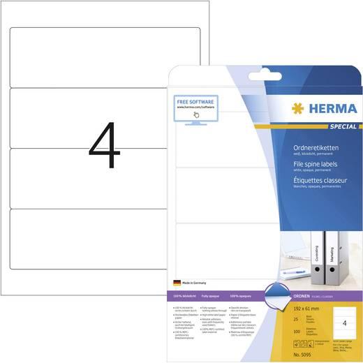 Herma 5095 Etiketten (A4) 61 x 192 mm Papier Wit 100 stuks Permanent Ordneretiketten Inkt, Laser, Kopie