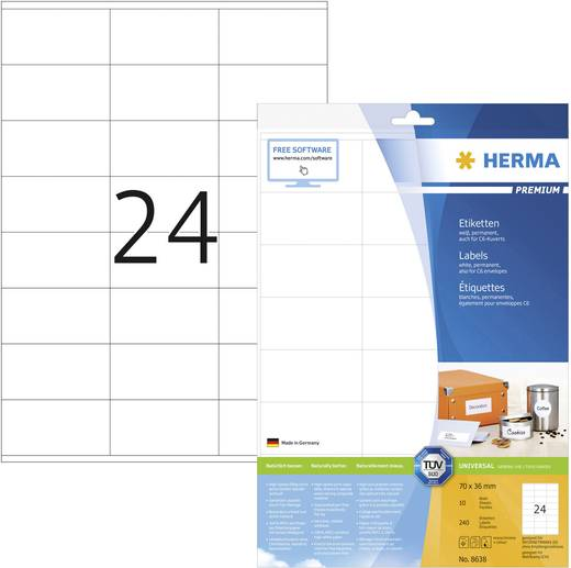 Herma 8638, Universele etiketten Premium,, Wit, 240 stuks