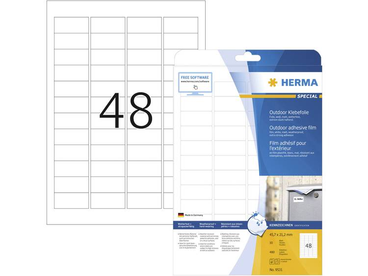 Herma 9531 Etiketten A4 45.7 x 21.2 mm Polyethyleen folie Wit 480 stuks Perman