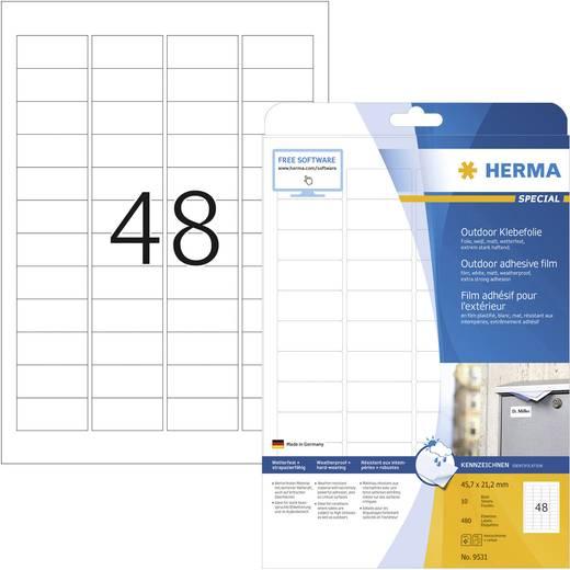 Herma 9531 Etiketten (A4) 45.7 x 21.2 mm Polyethyleen folie Wit 480 stuks Permanent Universele etiketten, Weerbestendige