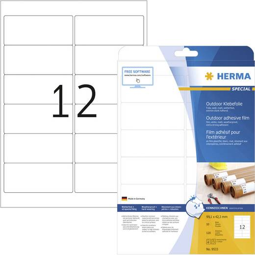 Herma 9533 Etiketten (A4) 99.1 x 42.3 mm Polyethyleen folie Wit 120 stuks Permanent Universele etiketten, Weerbestendige