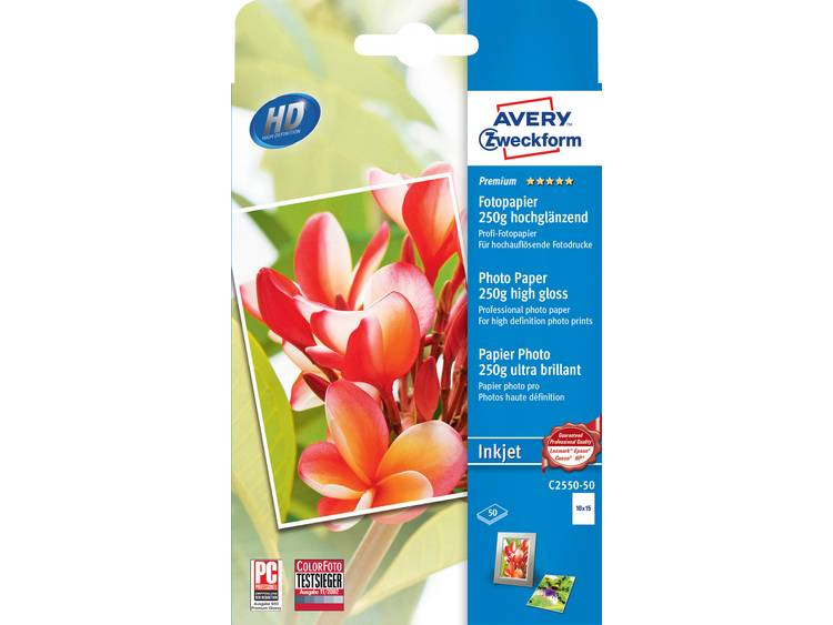 Avery Zweckform Premium Photo Paper Inkjet C2550 50 Fotopapier 10 x 15 cm 250 g