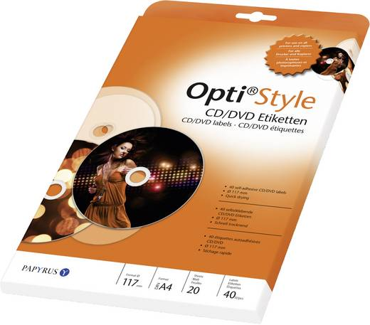 Opti Style CD/DVD-etiketten, Ø 117 mm, 40 etiketten