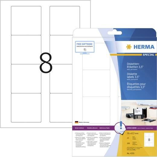 Herma Diskette-etiketten 4355 ( ),Wit, 200 stuks, Permanent