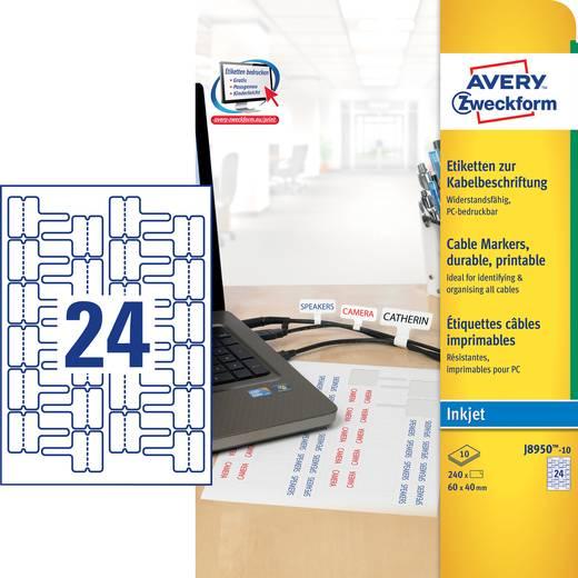 Avery-Zweckform Etiketten voor kabelmarkering J8950-10 ( ),Wit, 240 stuks, Permanent