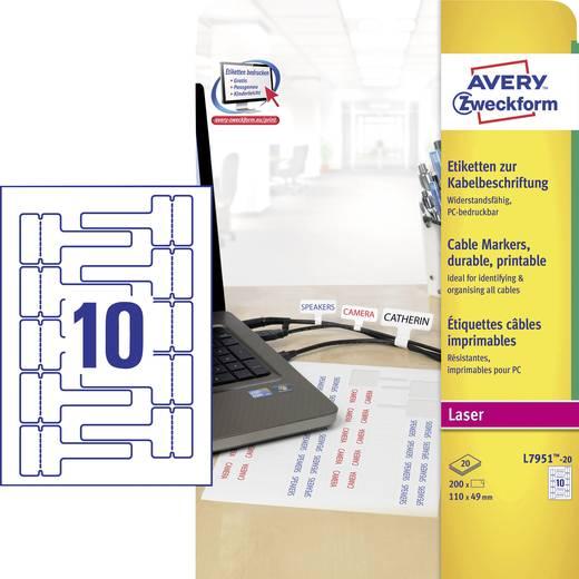 Avery-Zweckform L7951-20 Etiketten (A4) 110 x 49 mm Polyester folie Wit 200 stuks Permanent Kabeletiketten Laser